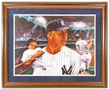 Mickey Mantle Autographed NY Yankees Framed 18x24 Lithograph (JSA)