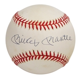 Mickey Mantle Autographed Official American League Baseball (GAI COA) Bobby Brown