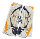 Ryan Miller RBK Goalie Pads Autographed Game Used white blue yellow