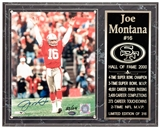 Joe Montana Autographed San Francisco 49ers Plaque #83/316 (Mounted Memories)