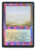 Magic the Gathering Onslaught Single Flooded Strand ARTIST SIGNED FOIL - MODERATE PLAY