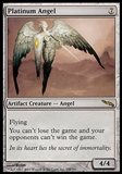 Magic the Gathering Mirrodin Single Platinum Angel FOIL - MODERATE PLAY (MP)