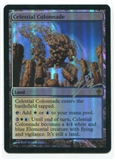 Magic the Gathering Worldwake Single Celestial Colonnade FOIL (Signed by Artist) - MODERATE PLAY (MP)