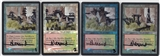 Magic the Gathering Onslaught Wooded Foothills FOIL X4 - Altered and Signed by Rob Alexander - SLIGHT PLAY