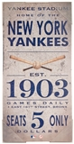 Artissimo New York Yankees Vintage Ticket 10x20 Canvas