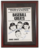 Mickey Mantle / Skowron / Bauer / Slaughter Autographed Framed 11X14 Photo (JSA)
