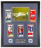 Derek Jeter Autographed NY Yankees Framed 8x10 Photo and Tickets (Steiner)