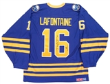Pat LaFontaine Autographed Buffalo Sabres Throwback Blue Hockey Jersey