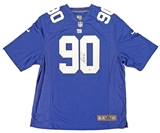 Jason Pierre-Paul Autographed New York Giants Blue Football Jersey (JSA)