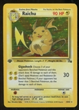 Pokemon Fossil 1st Edition Single Raichu 14/62 - SLIGHT PLAY (SP)