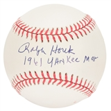 "Ralph Houk Autographed New York Yankees Official MLB Baseball w/""1961 Yankee Mgr"" Insc."