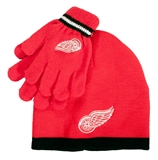 Detroit Red Wings Reebok Red Cuffless Knit Hat and Glove Set (Boys 4-7)