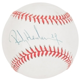 Rickey Henderson Autographed Rawlings National League Baseball (JSA COA)