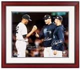 Derek Jeter Mariano Rivera Andy Pettitte Autographed Framed 16X20 Yankees #40 (Steiner)