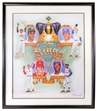 """The Kings"" Henderson/Ryan/Rose/Aaron Autographed 36X31 Framed Ron Lewis Piece (JSA)"