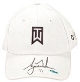 Tiger Woods Autographed Tournament Worn White Nike Hat #1/1 (UDA)