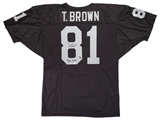 Tim Brown Autographed Oakland Raiders Football Jersey #d to 81 w/inscription (Global)