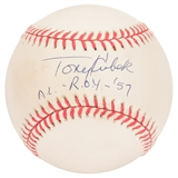 "Tony Kubek Autographed New York Yankees Official MLB Baseball w/""AL ROY '57"" (PSA)"