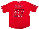 Mike Trout Autographed Los Angeles Angels Red Majestic Jersey (JSA Letter)