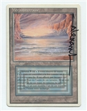 Magic the Gathering Revised Single Underground Sea ARTIST SIGNED FRENCH - MODERATE PLAY