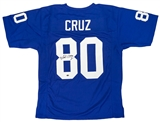 Victor Cruz Autographed New York Giants Football Jersey (Leaf)