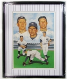 New York Yankees Signed & Framed Litho w/Mantle, Martin, & Ford