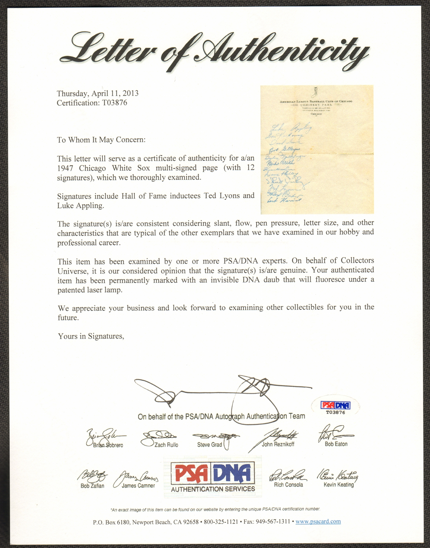 1947 Chicago White Sox Team Signed Sheet on Official Letterhead – Official Letterhead