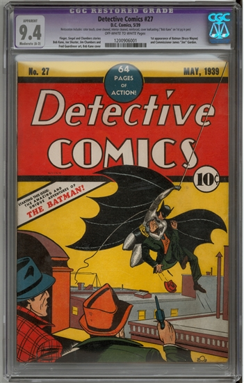 Detective Comics #27 CGC 9.4 (OW-W) Moderate Restoration (A-3) *1200906001* + Batman #1-36 Original Owner Run