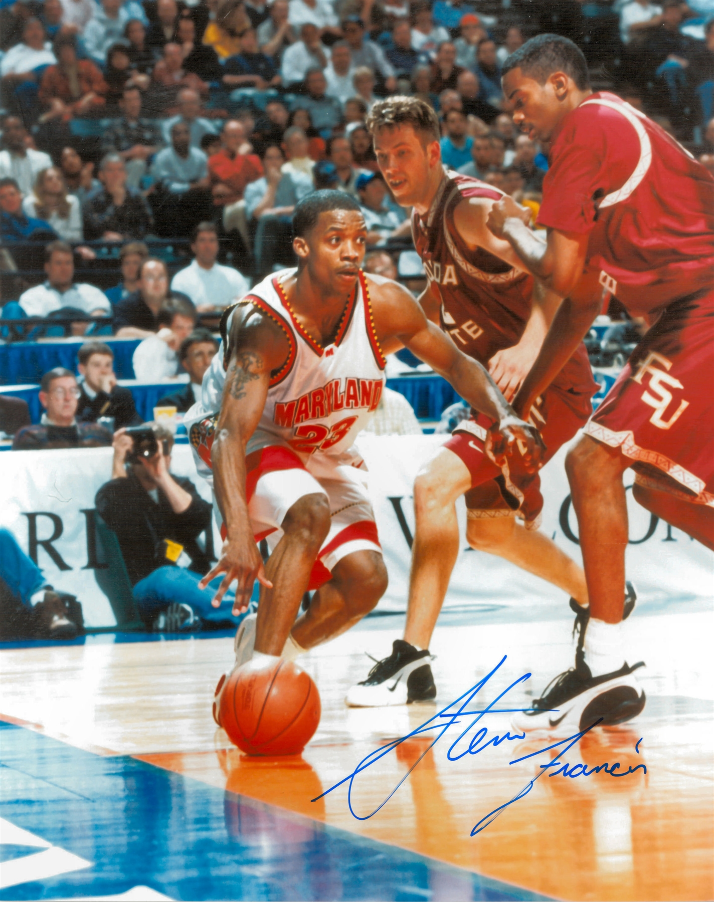Steve Francis Autographed University of Maryland Terrapins 8x10