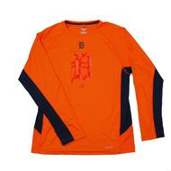 Detroit Tigers Majestic Orange Batter Runner Cool Base Performance L/S Tee Shirt (Adult M)
