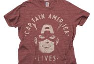 Captain America Junk Food Red He Lives Tee (Adult L)