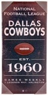 Dallas Cowboys Artissimo Vintage Sign 24x12 Canvas