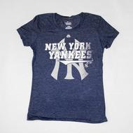 New York Yankees Majestic Navy Take That Tee Shirt (Womens L)