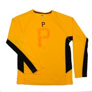 Pittsburgh Pirates Majestic Yellow Batter Runner Cool Base Performance L/S Tee Shirt (Adult L)