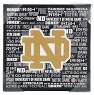 Notre Dame Fighting Irish Artissimo Football Typography 13x13 Canvas