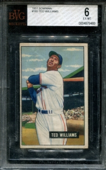 1951 Bowman Baseball #165 Ted Williams BVG 6 (EX-MT) *9469