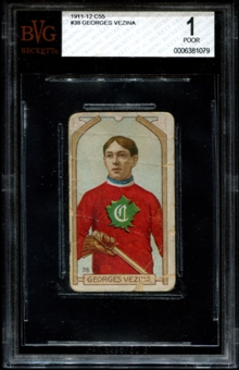 1911/12 C55 Hockey #38 Georges Vezina Rookie BVG 1 (POOR) *1079