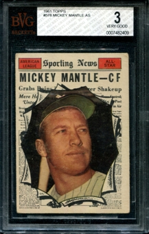 1961 Topps Baseball #578 Mickey Mantle All Star BVG 3 (VG) *2409