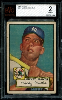 1952 Topps Baseball #311 Mickey Mantle BVG 2 (GOOD) *1866