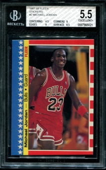 1987/88 Fleer Basketball Sticker #2 Michael Jordan BGS 5.5 (EX+) *5021