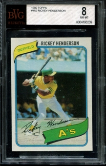 1980 Topps Baseball #482 Rickey Henderson Rookie BVG 8 (NM-MT) *3239