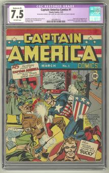 Captain America Comics #1 CGC 7.5 Moderate (P) Restoration (OW) *0055991014*