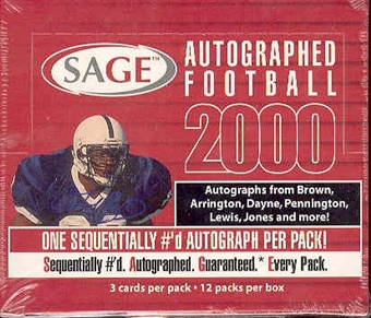 2000 Sage Autographed Football Hobby Box