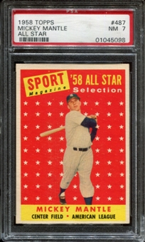 1958 Topps Baseball #487 Mickey Mantle All Star PSA 7 (NM) *5098