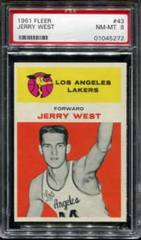 1961/62 Fleer Basketball #43 Jerry West Rookie PSA 8 (NM-MT) *5272
