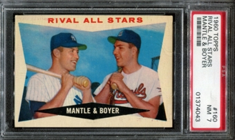 1960 Topps Baseball #160 Mantle & Boyer Rival All Stars PSA 7 (NM) *4043