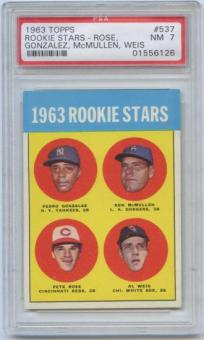 1963 Topps Baseball #537 Pete Rose Rookie Card PSA 7 (NM) *6126