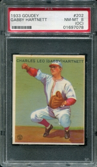 1933 Goudey Baseball #202 Gabby Hartnett PSA 8 (NM-MT) (OC) *7078