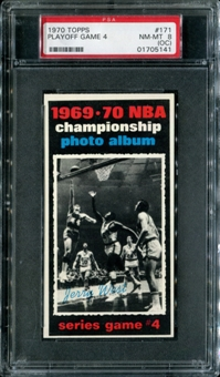 1970/71 Topps Basketball #171 Playoff Game 4 - Jerry West PSA 8 (NM-MT) (OC) *5141