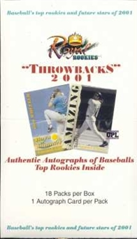 2001 Royal Rookies Throwbacks Baseball Hobby Box